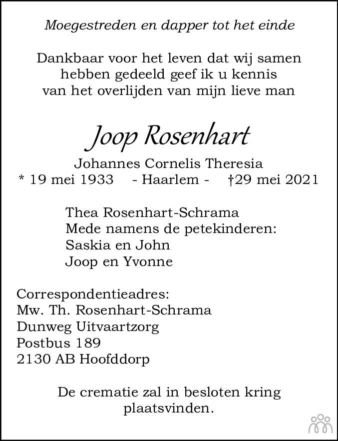 Overlijdensbericht van Joop (Johannes Cornelis Theresia ) Rosenhart in Haarlems Dagblad Kombinatie