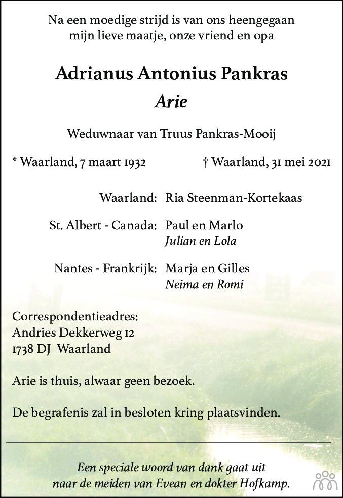 Overlijdensbericht van Adrianus Antonius (Arie) Pankras in Dagblad voor West-Friesland
