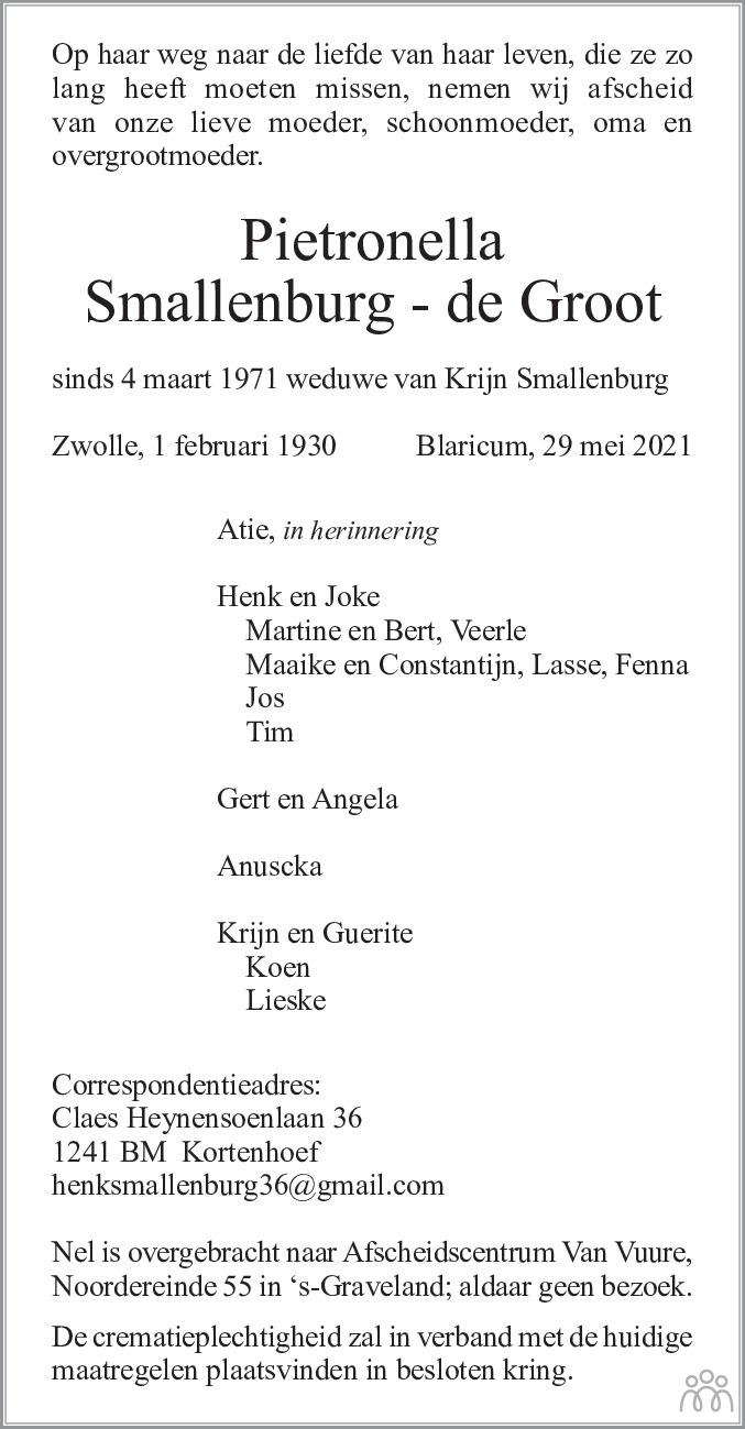 Overlijdensbericht van Pietronella Smallenburg- de Groot in De Gooi- en Eemlander