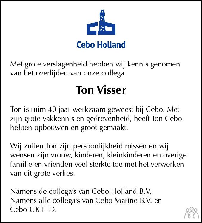 Overlijdensbericht van Ton Visser in Haarlems Dagblad Kombinatie