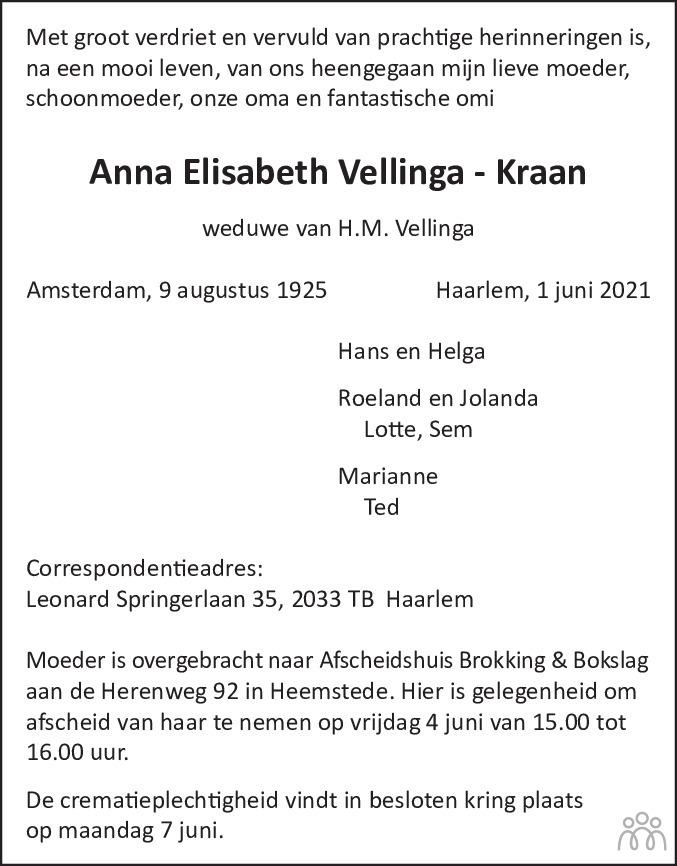 Overlijdensbericht van Anna Elisabeth Vellinga-Kraan in Haarlems Dagblad Kombinatie
