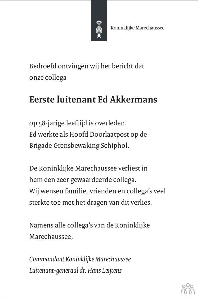 Overlijdensbericht van Ed Akkermans in de Telegraaf