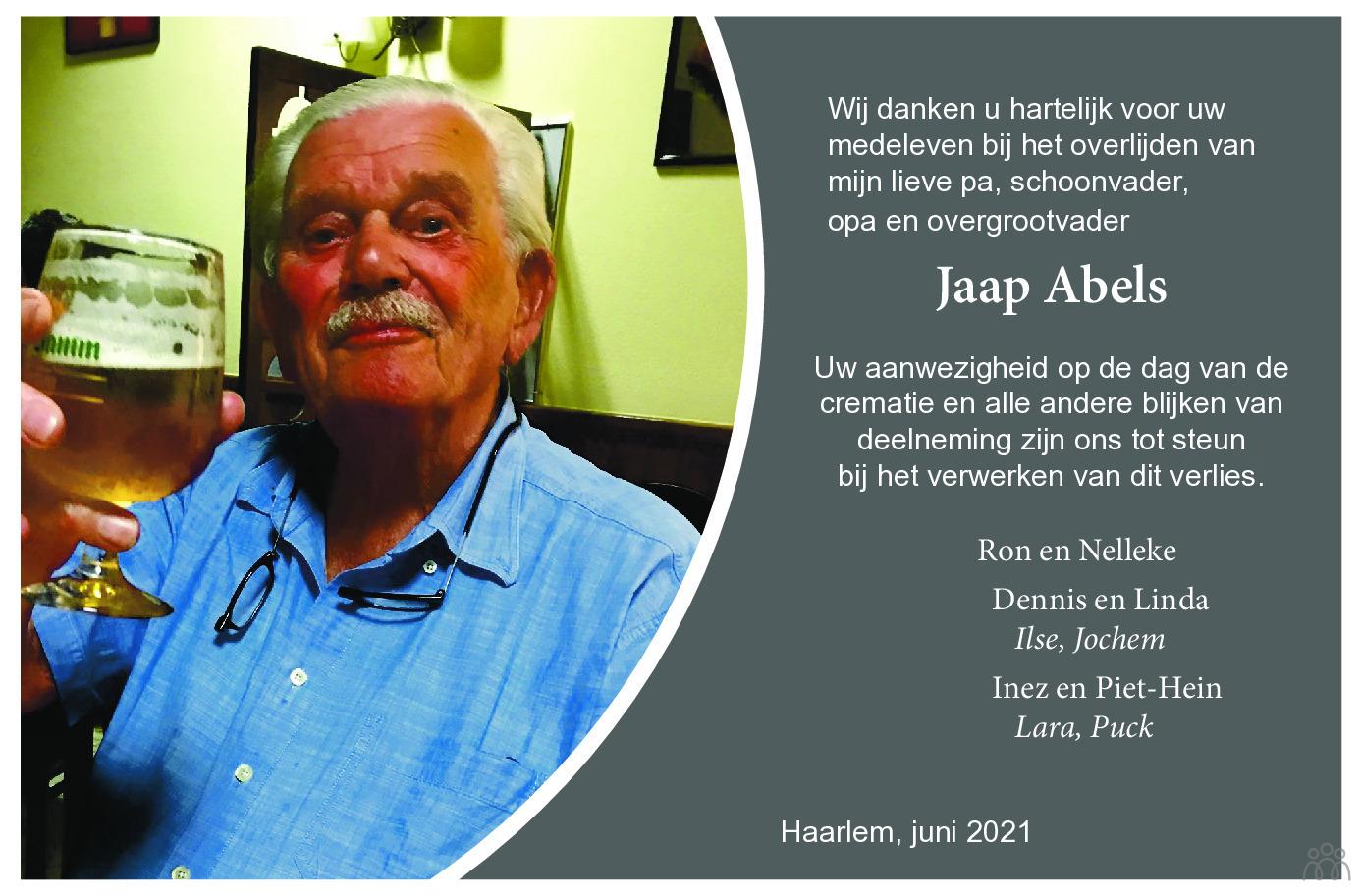 Overlijdensbericht van Jaap Abels in Haarlems Dagblad Kombinatie