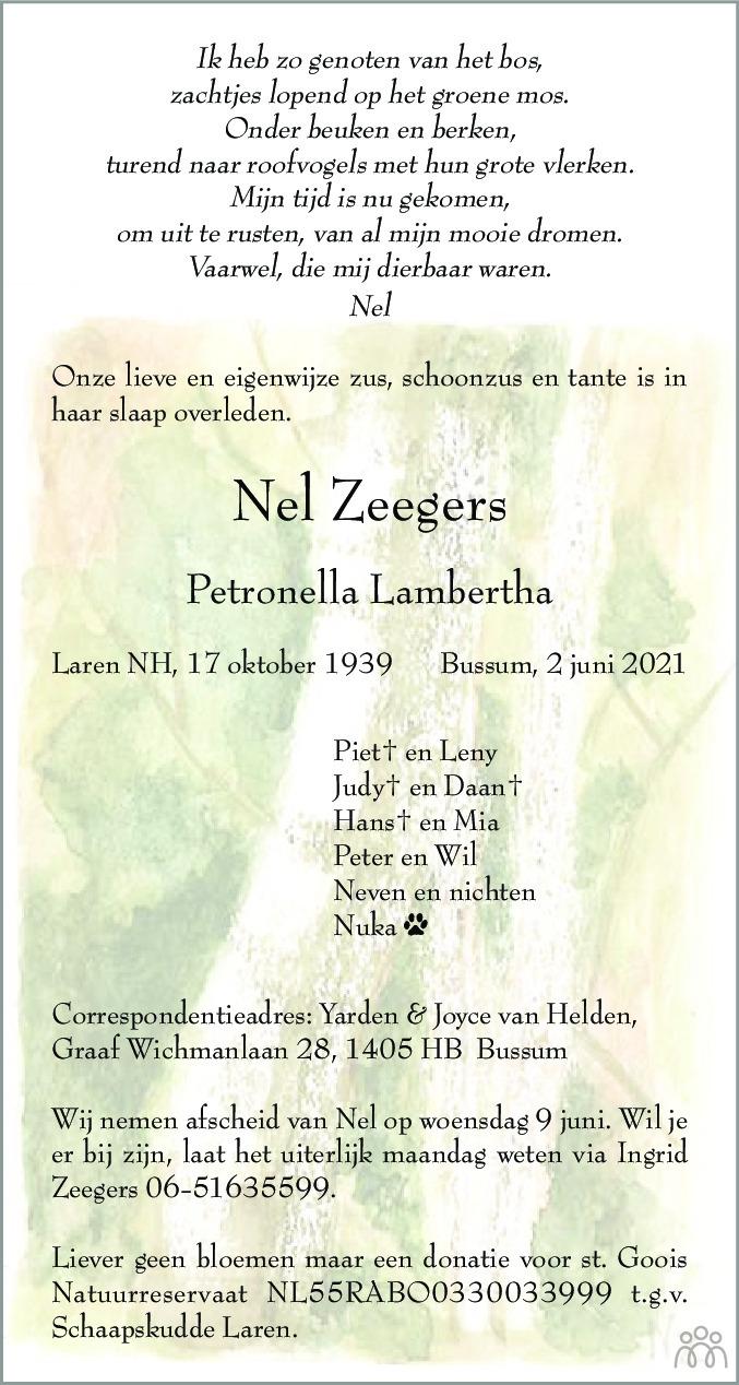 Overlijdensbericht van Nel (Petronella Lambertha) Zeegers in De Gooi- en Eemlander