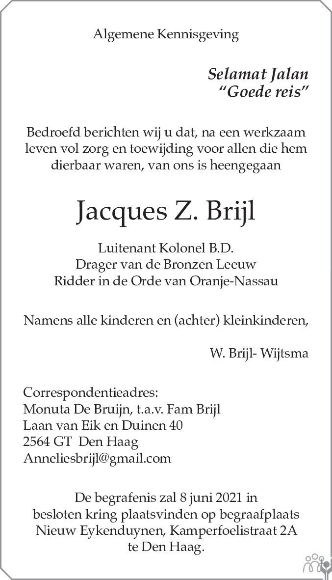 Overlijdensbericht van Jacques Z. Brijl in de Telegraaf