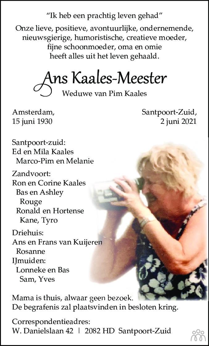 Overlijdensbericht van Ans Kaales-Meester in Haarlems Dagblad Kombinatie