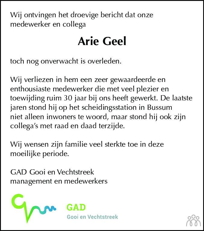 Overlijdensbericht van Arie Geel in De Gooi- en Eemlander