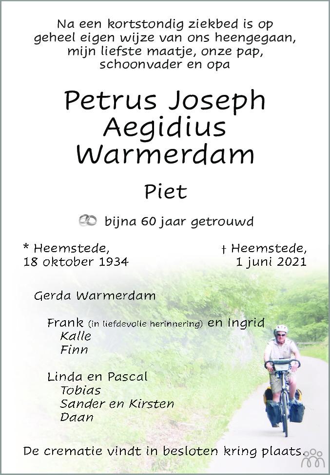 Overlijdensbericht van Petrus Joseph Aegidius (Piet) Warmerdam in Haarlems Dagblad Kombinatie