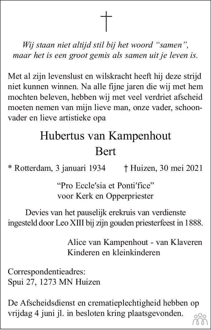 Overlijdensbericht van Hubertus (Bert) van Kampenhout in De Gooi- en Eemlander