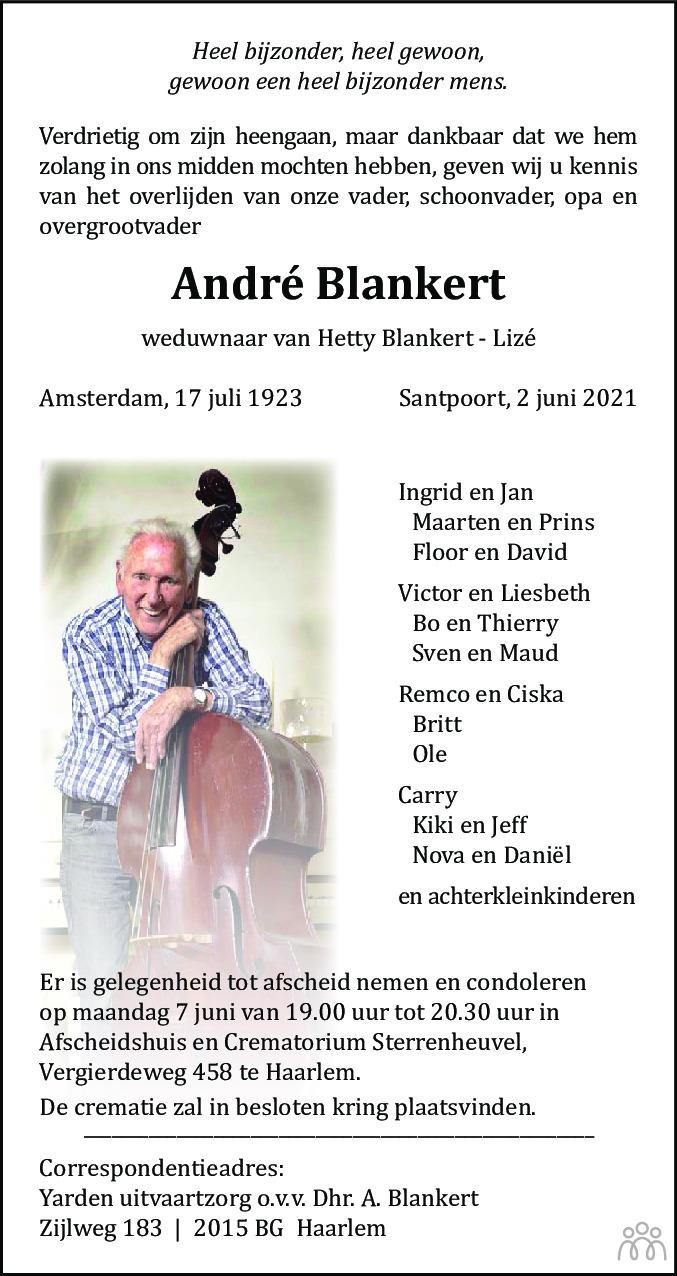 Overlijdensbericht van André Blankert in Haarlems Dagblad Kombinatie