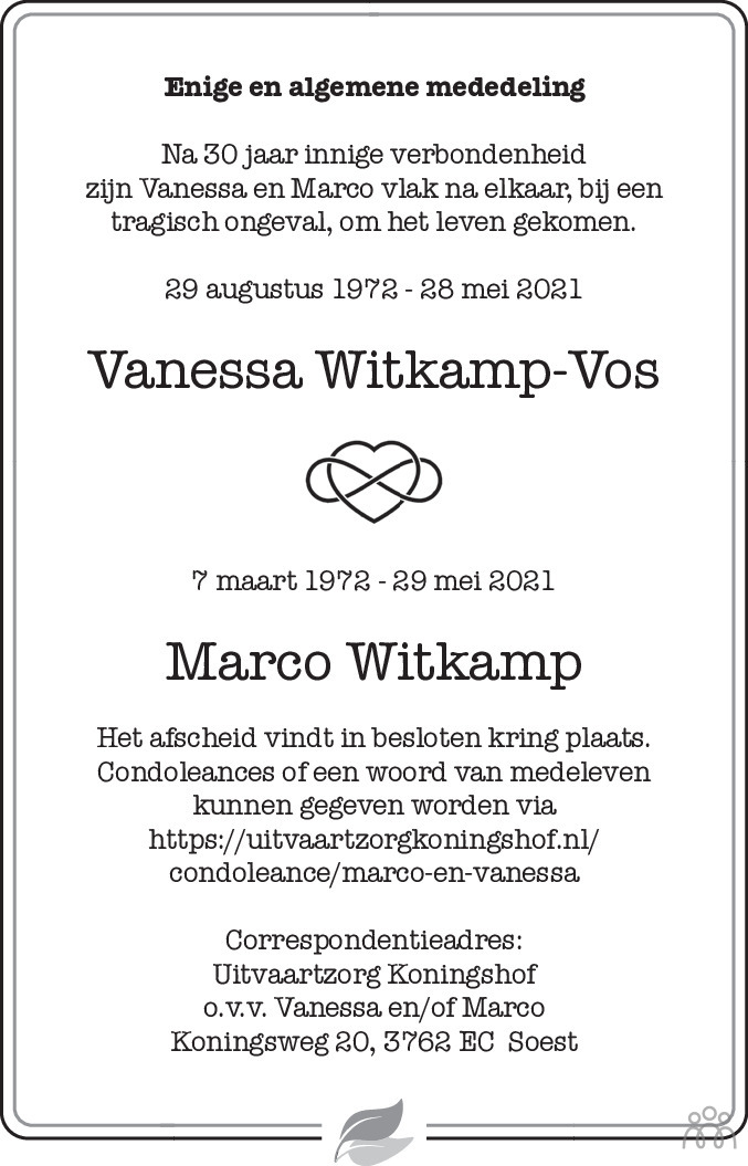 Overlijdensbericht van Vanessa en Marco Witkamp-Vos in De Gooi- en Eemlander
