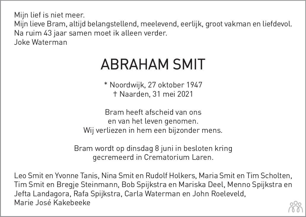 Overlijdensbericht van Abraham Smit in De Gooi- en Eemlander