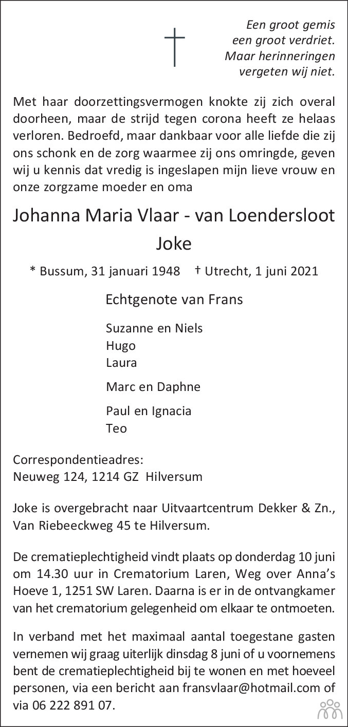 Overlijdensbericht van Johanna Maria (Joke) Vlaar-van Loendersloot in De Gooi- en Eemlander