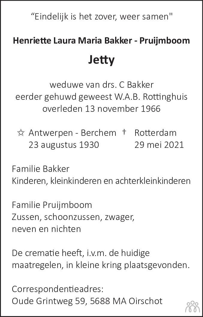 Overlijdensbericht van Henriette Laura Maria (Jetty) Bakker-Pruijmboom in Haarlems Dagblad Kombinatie