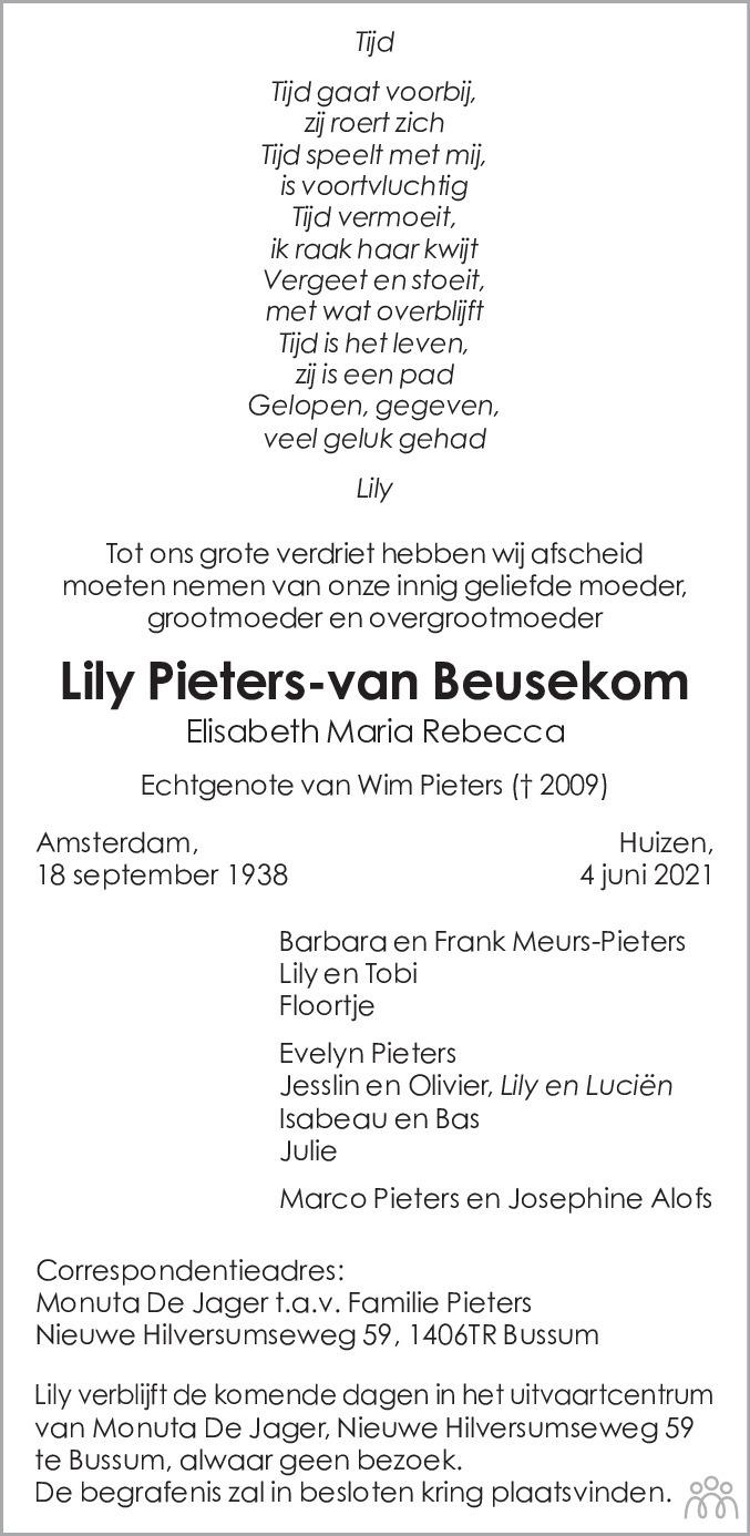 Overlijdensbericht van Lily (Elisabeth Maria Rebecca) Pieters-van Beusekom in de Telegraaf
