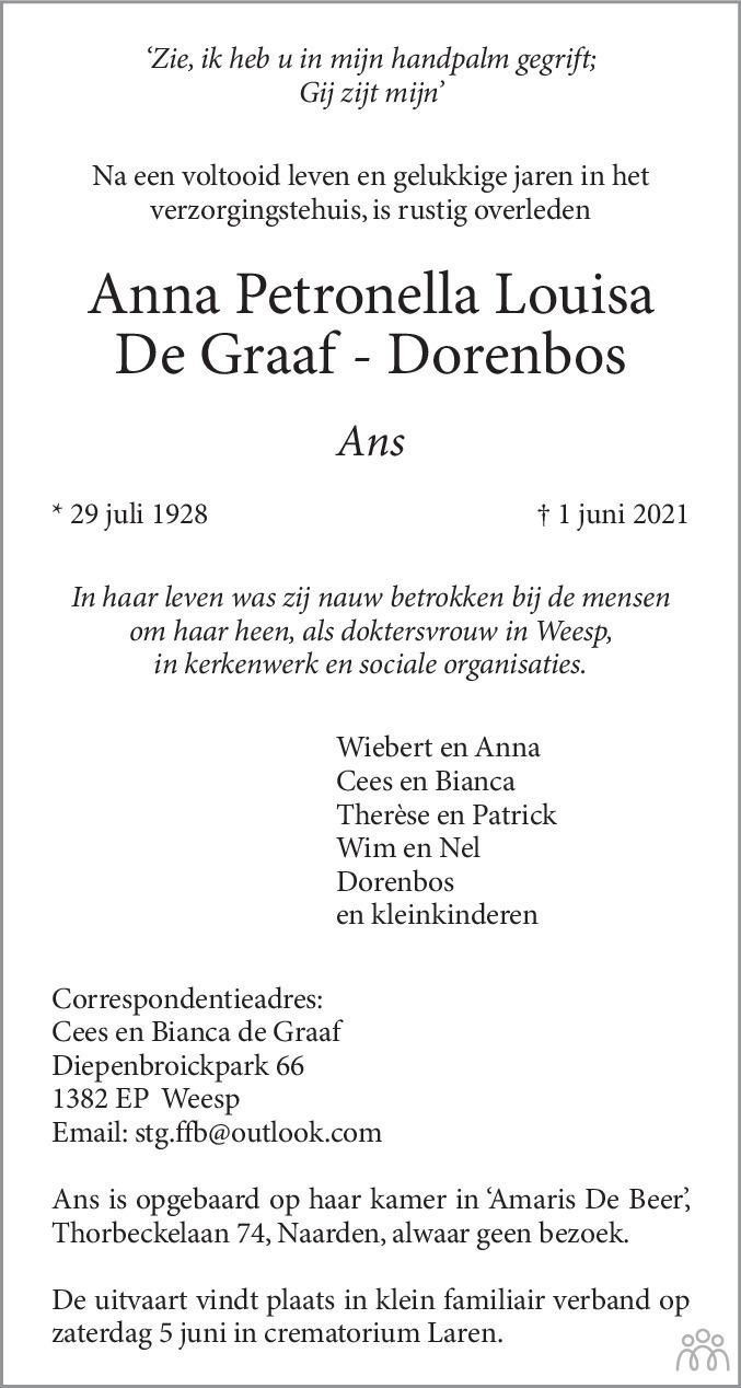 Overlijdensbericht van Anna Petronella Louisa (Ans) de Graaf-Dorenbos in De Gooi- en Eemlander