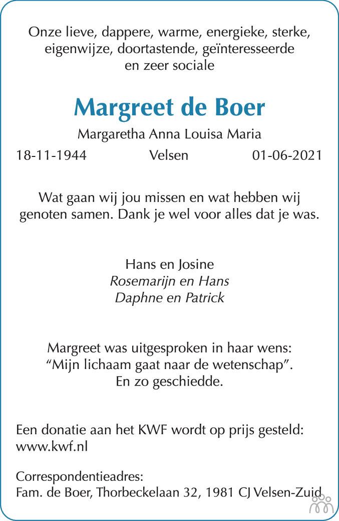 Overlijdensbericht van Margaretha Anna Louisa Maria (Margreet) de Boer in Haarlems Dagblad Kombinatie