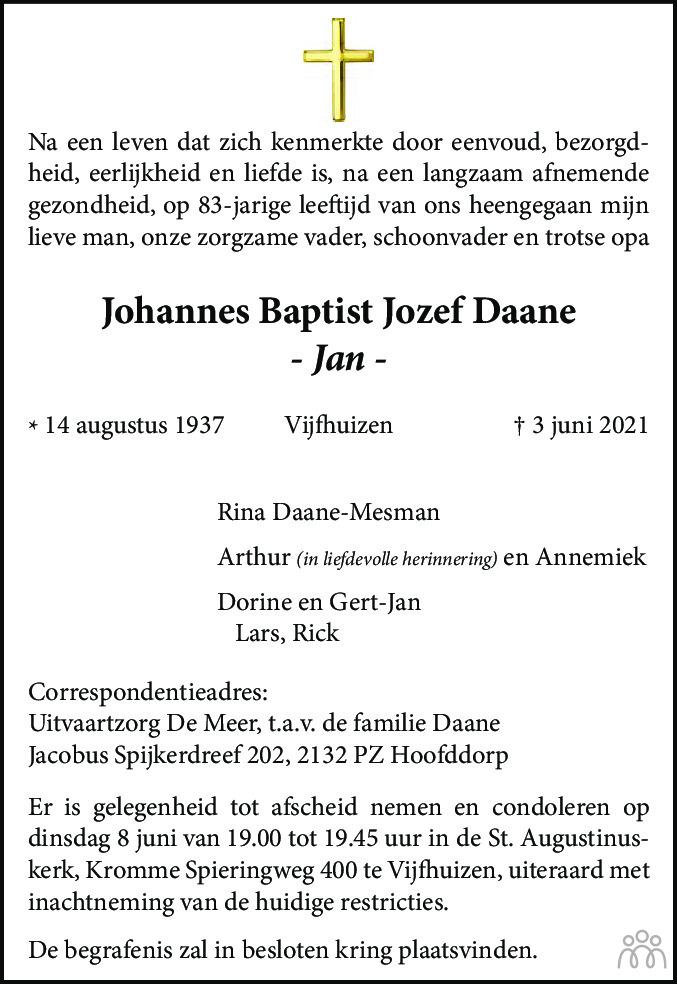 Overlijdensbericht van Johannes Baptist Jozef (Jan) Daane in Haarlems Dagblad Kombinatie