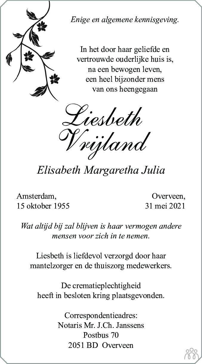 Overlijdensbericht van Elisabeth Margaretha Julia (Liesbeth) Vrijland in de Telegraaf