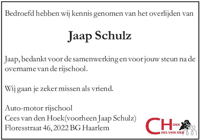 Overlijdensbericht van Jakob Johannes (Jaap) Schulz in Haarlems Dagblad Kombinatie