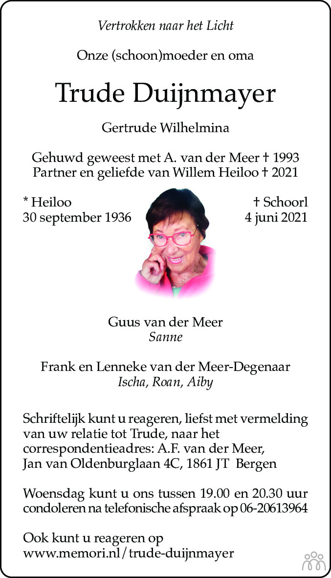 Overlijdensbericht van Gertrude Wilhelmina (Trude) Duijnmayer in Alkmaarsche Courant