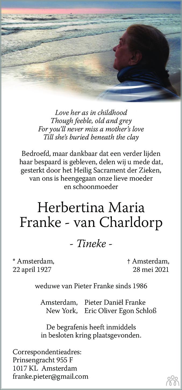 Overlijdensbericht van Herbertina Maria (Tineke) Franke-van Charldorp in De Gooi- en Eemlander