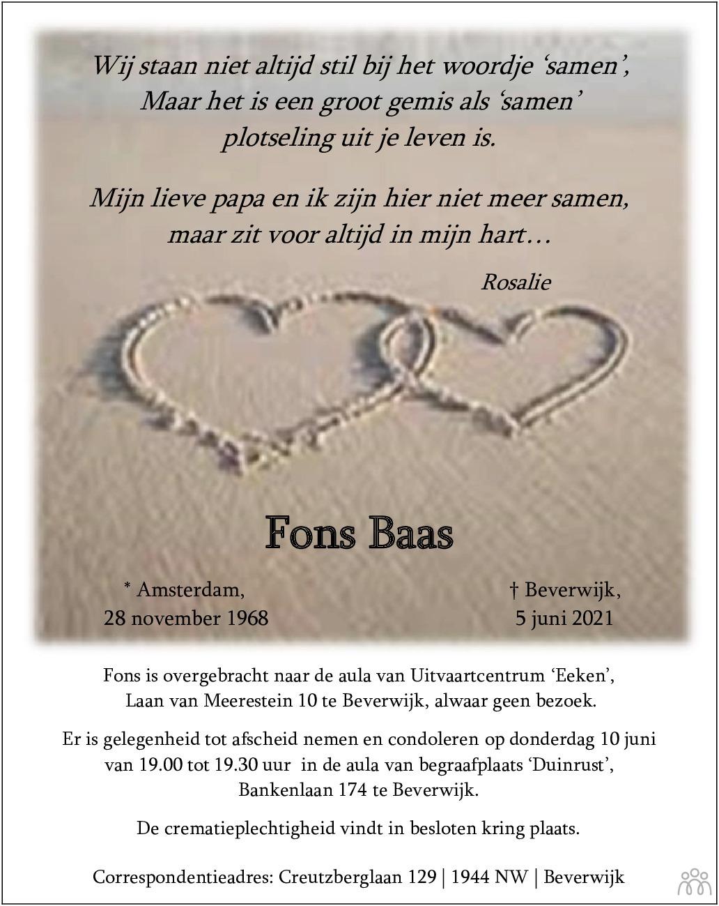 Overlijdensbericht van Fons Baas in Dagblad Kennemerland