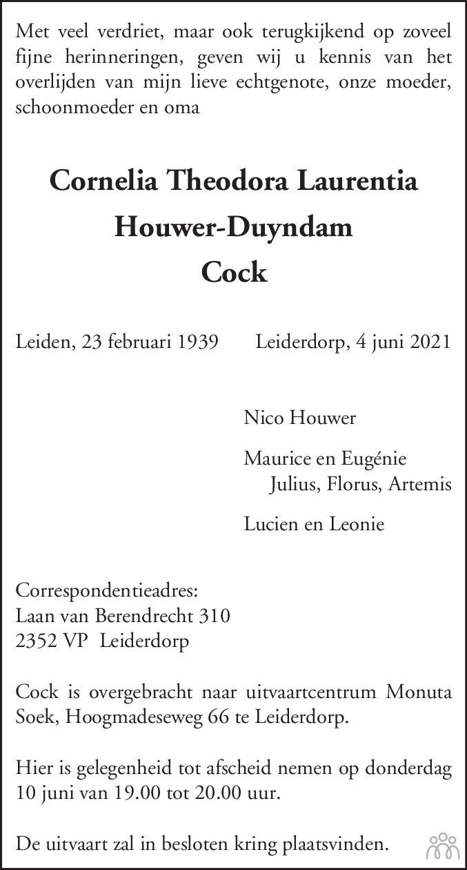 Overlijdensbericht van Cornelia Theodora Laurentia (Cock) Houwer-Duyndam in Leidsch Dagblad