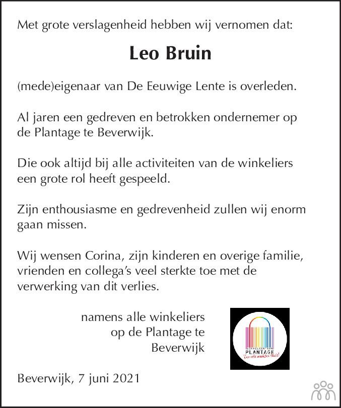 Overlijdensbericht van Leo Bruin in Dagblad Kennemerland