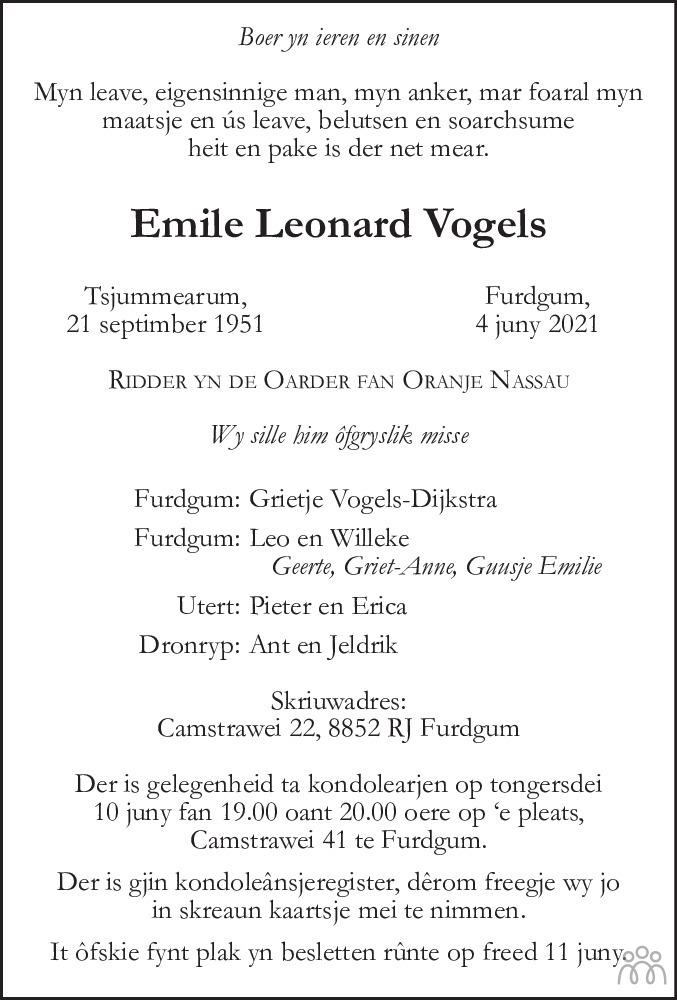 Overlijdensbericht van Emile Leonard Vogels in de Telegraaf
