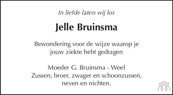 Overlijdensbericht van Jelle (Julius) Bruinsma in Dagblad voor West-Friesland