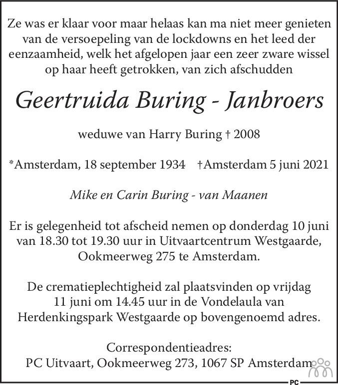 Overlijdensbericht van Geertruida Buring-Janbroers in de Telegraaf