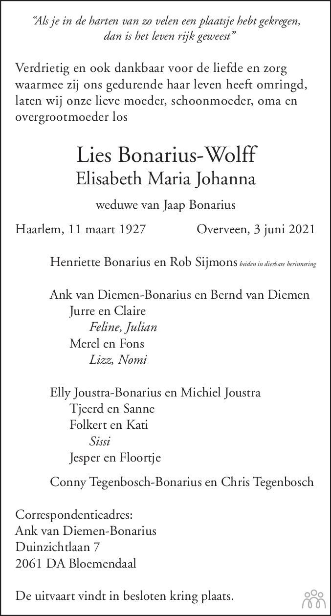 Overlijdensbericht van Lies (Elisabeth Maria Johanna) Bonarius-Wolff in Haarlems Dagblad Kombinatie
