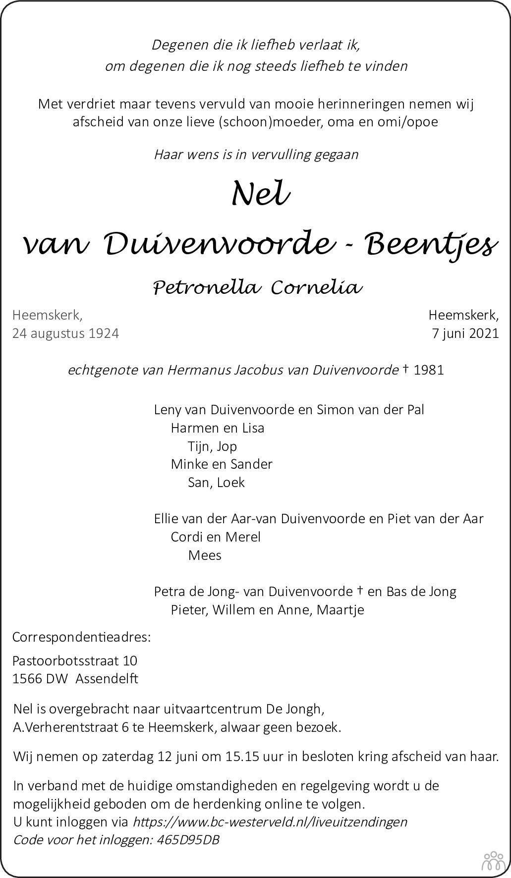 Overlijdensbericht van Nel (Petronella Cornelia) van Duivenvoorde - Beentjes in Dagblad Kennemerland