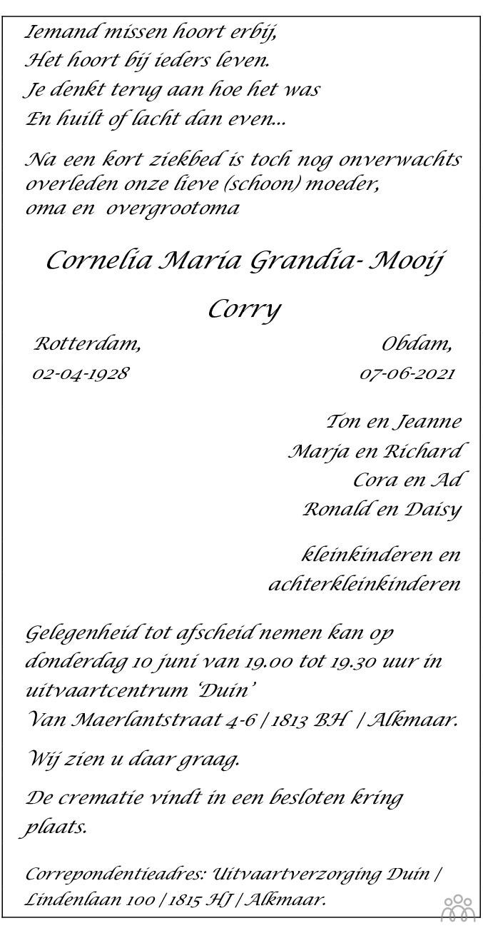 Overlijdensbericht van Cornelia Maria (Corry) Grandia-Mooij in Alkmaarsche Courant