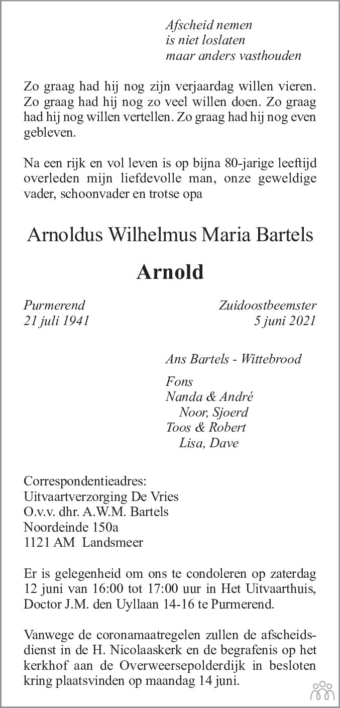 Overlijdensbericht van Arnoldus Wilhelmus Maria (Arnold) Bartels in Dagblad Waterland