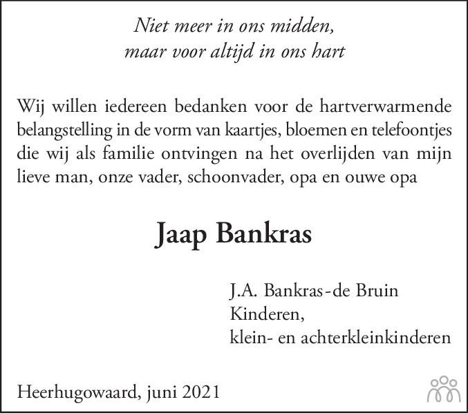 Overlijdensbericht van Jaap Bankras in Alkmaarsche Courant
