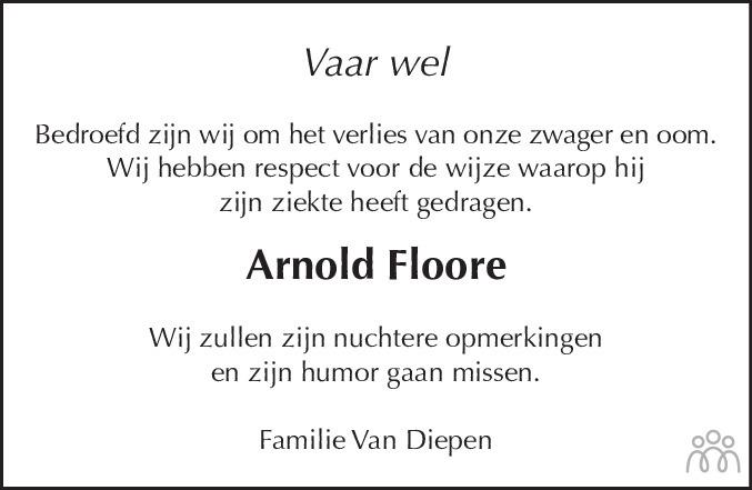 Overlijdensbericht van Arnold (Arnoldus Hendrikus) Floore in Dagblad Zaanstreek