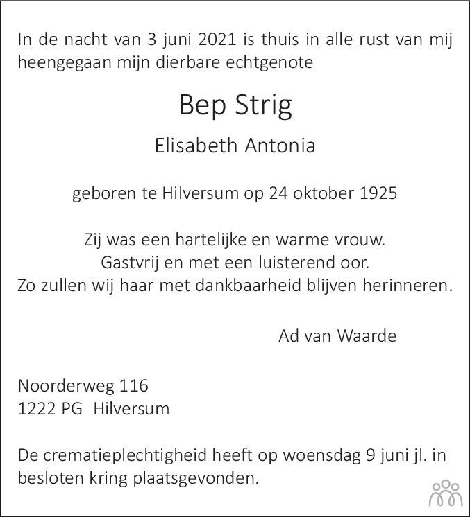 Overlijdensbericht van Bep (Elisabeth Antonia) Strig in De Gooi- en Eemlander
