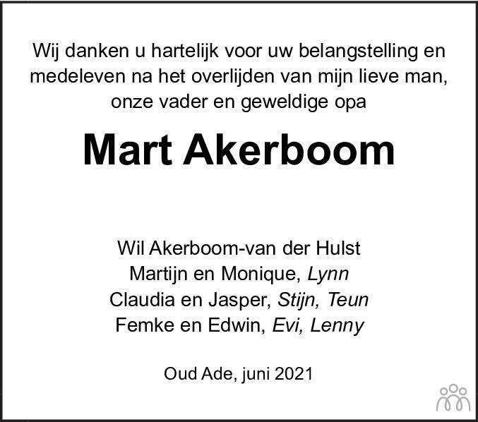 Overlijdensbericht van Mart Akerboom in Leidsch Dagblad