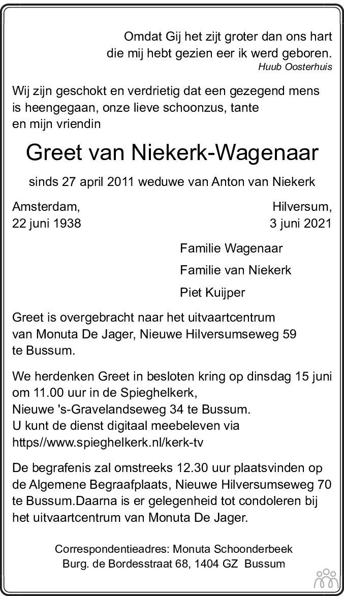 Overlijdensbericht van Greet van Niekerk-Wagenaar in De Gooi- en Eemlander