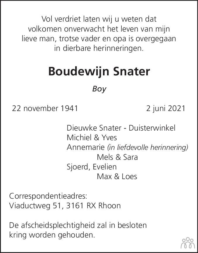Overlijdensbericht van Boudewijn (Boy) Snater in Haarlems Dagblad Kombinatie