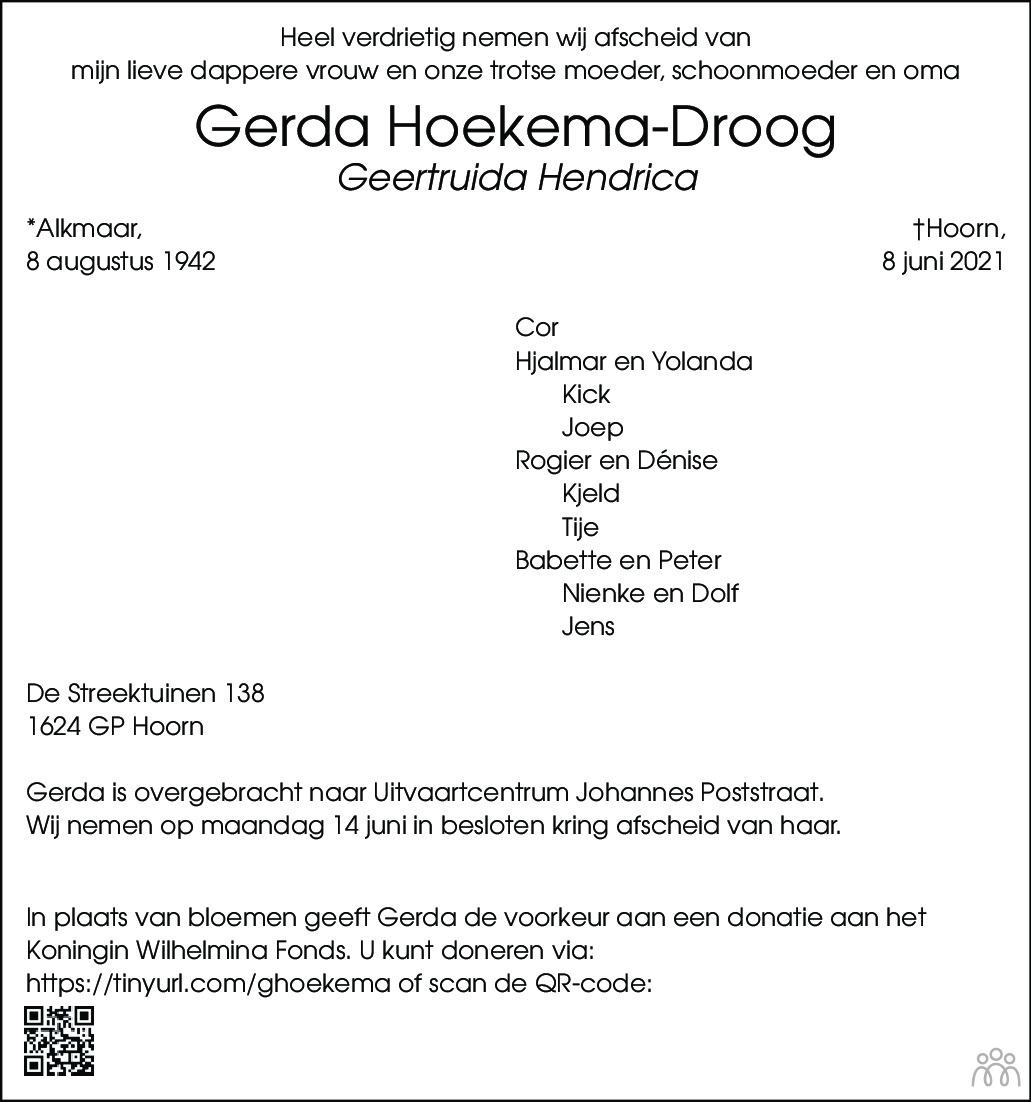 Overlijdensbericht van Geertruida (Gerda) Hendrica Hoekema-Droog in Dagblad voor West-Friesland