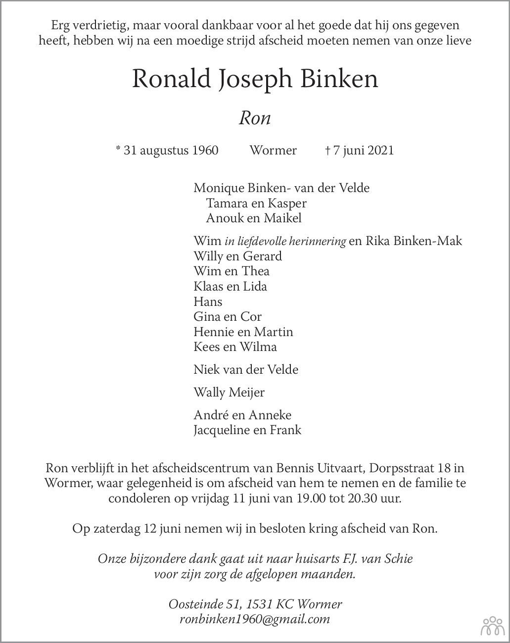Overlijdensbericht van Ronald Joseph (Ron) Binken in Dagblad Zaanstreek