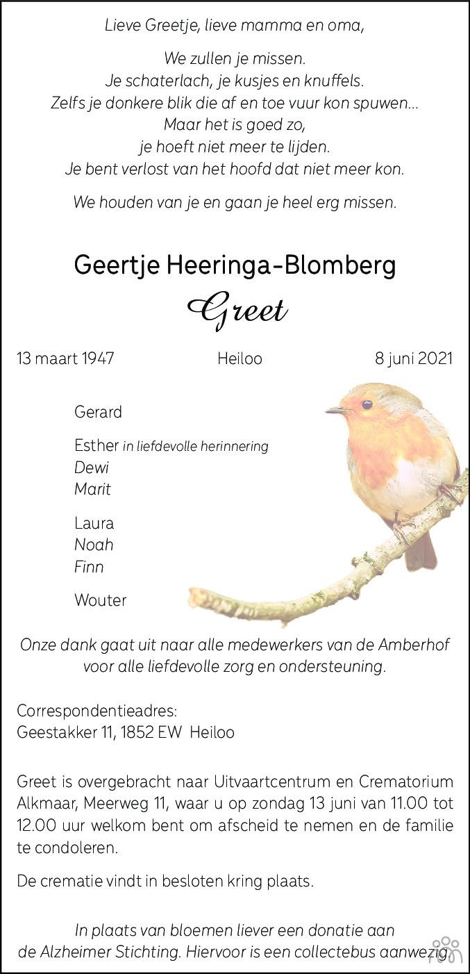 Overlijdensbericht van Greet (Greetje) Heeringa-Blomberg in Alkmaarsche Courant
