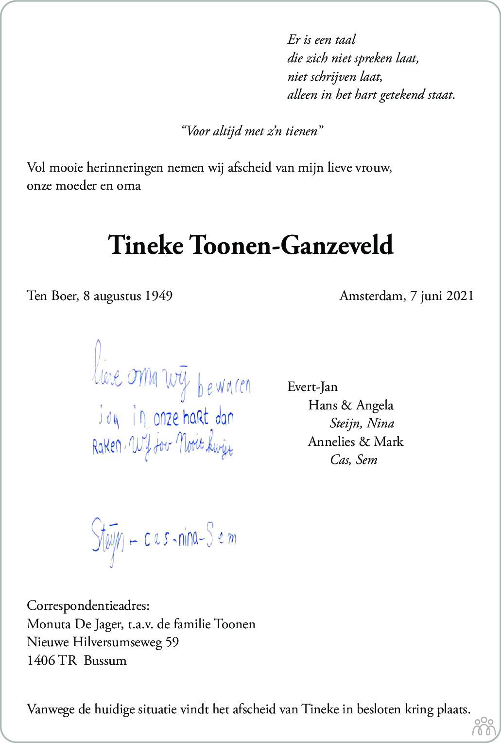 Overlijdensbericht van Tineke Toonen-Ganzeveld in De Gooi- en Eemlander