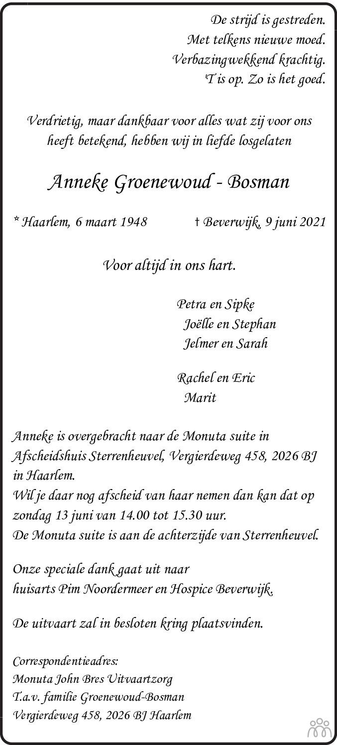 Overlijdensbericht van Anneke Groenewoud-Bosman in Haarlems Dagblad Kombinatie