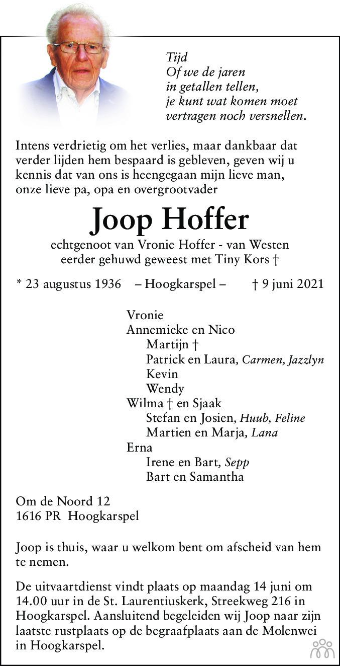 Overlijdensbericht van Joop Hoffer in Dagblad voor West-Friesland