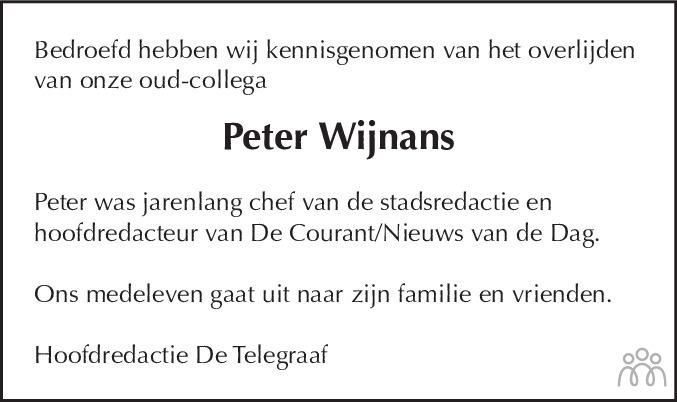 Overlijdensbericht van Peter (Peter Hendrikus Hubertus) Wijnans in de Telegraaf