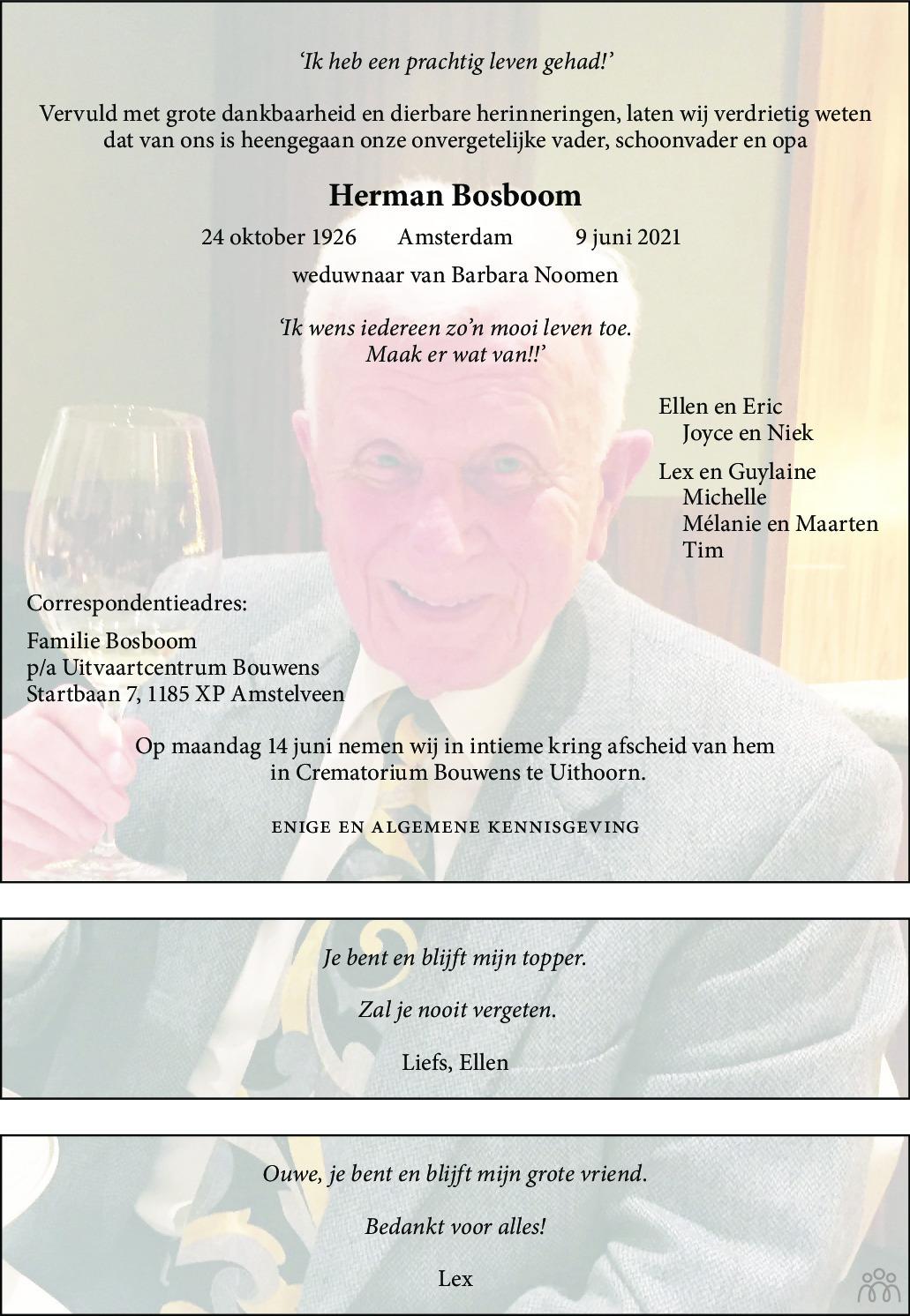 Overlijdensbericht van Herman Bosboom in de Telegraaf